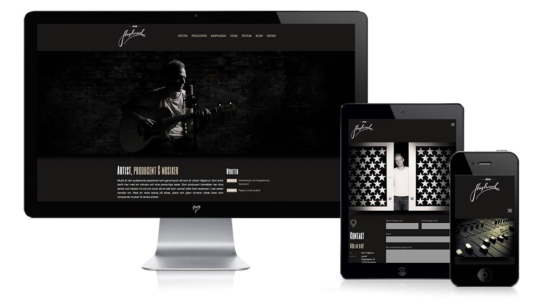 Webbyrå i Stockholm webbdesign för musikern Johan Häglerud av Monroe Design