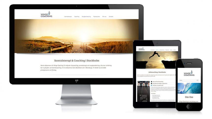 Webbyrå i Stockholm hemsida terapi Winge Coaching av Monrope Design