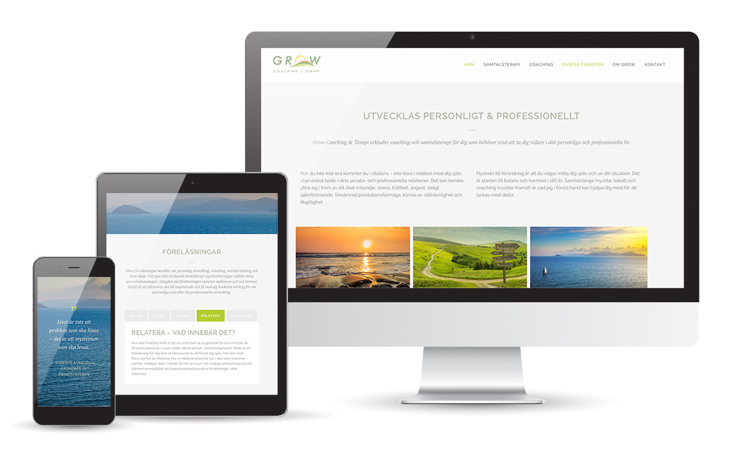 Webbyrå Stockholm - webbdesign åt terapeut Grow Coaching & Terapi - MONROE DESIGN AB
