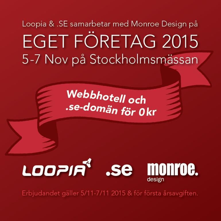 Eget Företag 2015 på Stockholmsmässan i Älvsjö - Monroe Design i Loopias monter