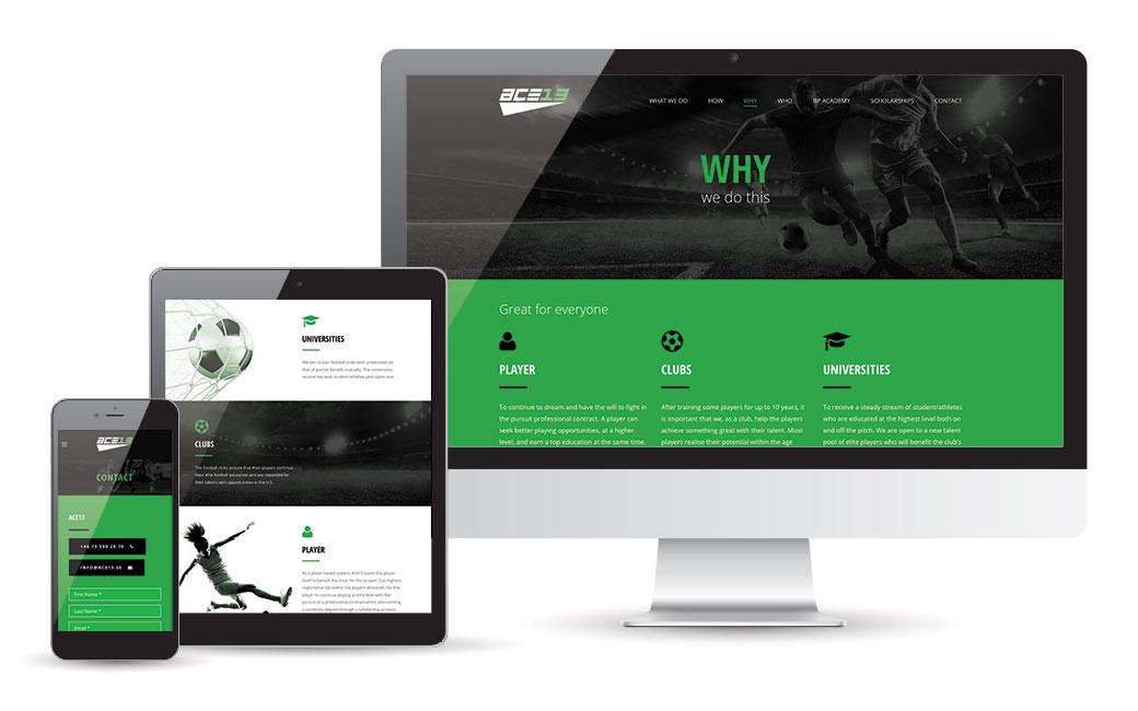 Fotboll hemsida i Stockholm - Ace13 - av MONROE DESIGN