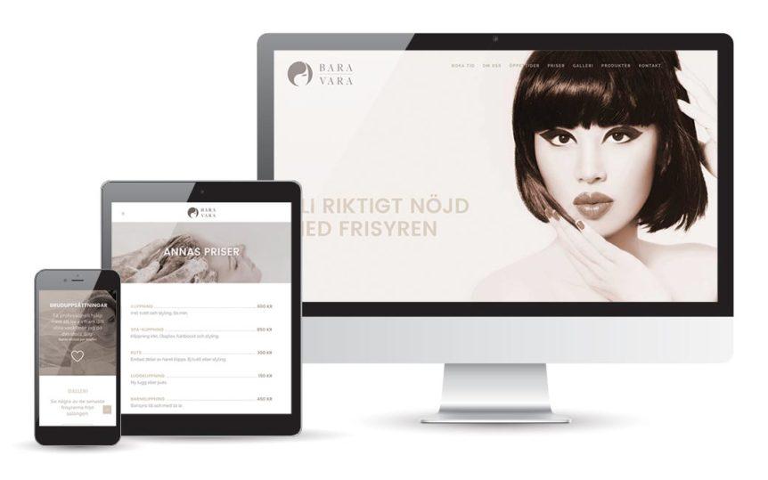webbdesign åt Frisör Bara Vara i Kalmar - av MONROE DESIGN i Stockholm