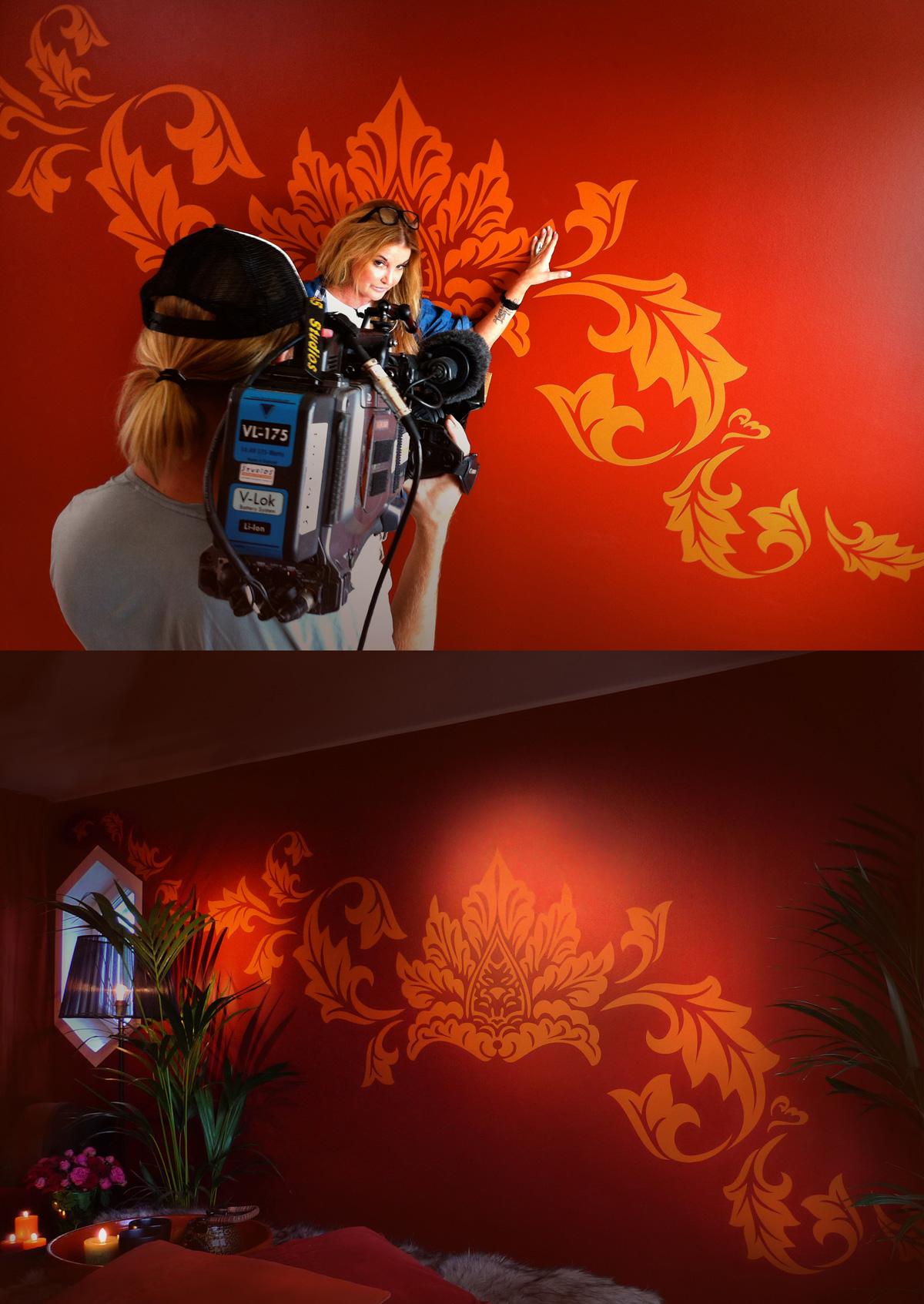 Lulu Carter med väggdekor från MONROE DESIGN AB i Äntligen Hemma på tv4