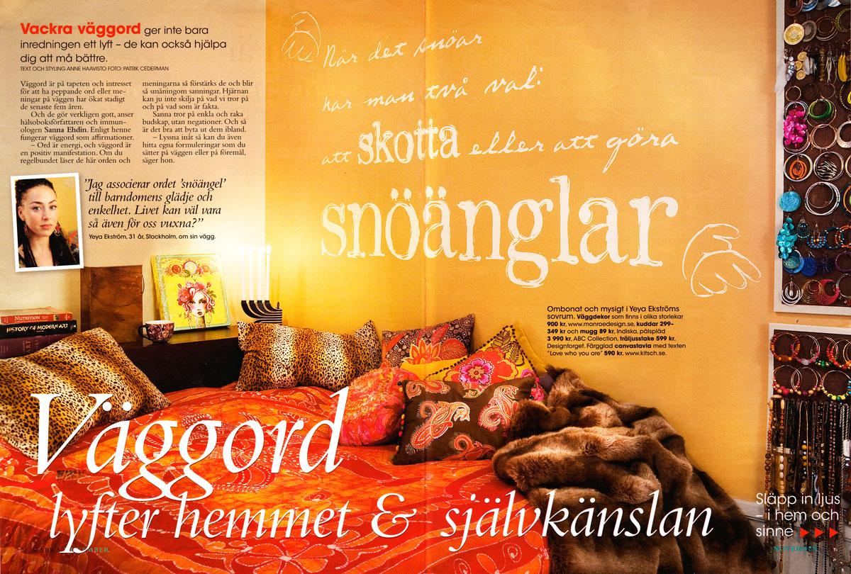 Väggord om snöänglar i Må Bra - Av Monroe Design