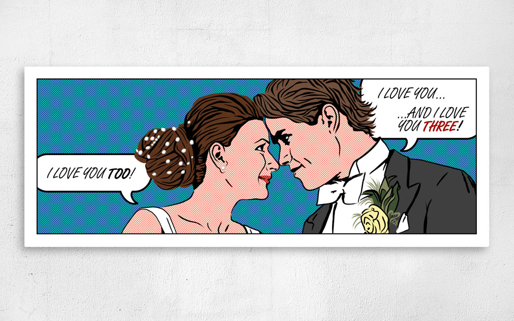 Bröllopstavla canvas i seriestil pop art - personligt anpassad - MONROE DESIGN AB i Stockholm