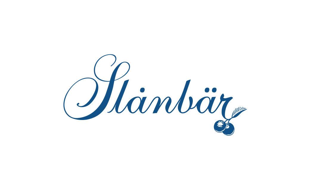 Skrivstil logotyp med bär - Slånbär - MONROE DESIGN AB