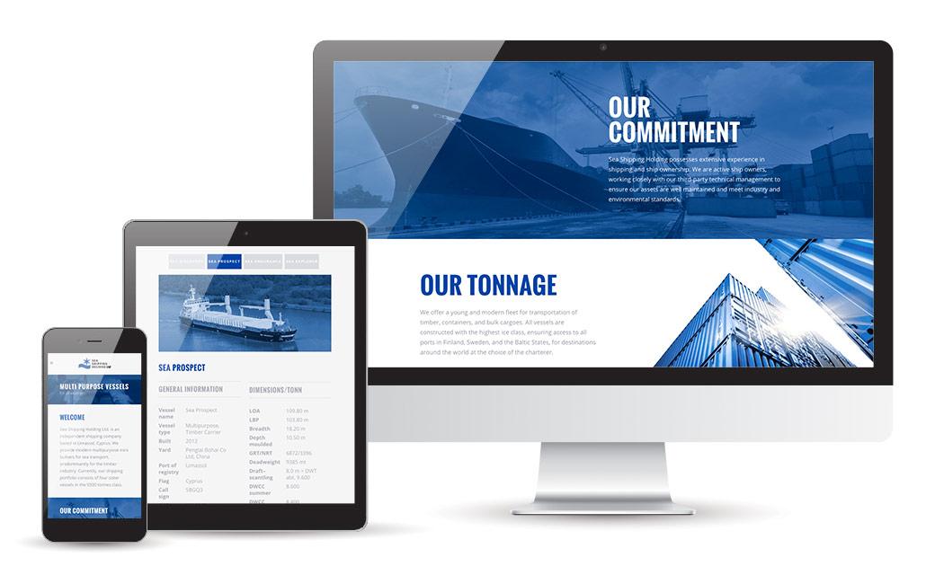 Sea Shipping Holding webbdesign - av MONROE DESIGN AB - Webbdesignbyrå i Stockholm