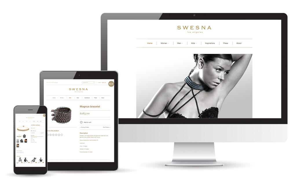 Webbyrå i Stockholm - webbdesign för smycken - Swesna Jewels - MONROE DESIGN AB