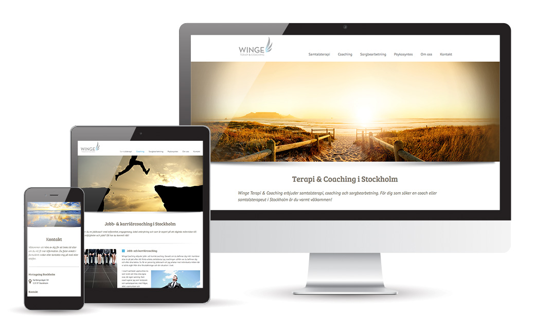 Webbyrå i Stockholm - webbdesign åt terapeut WingeTerapi & Coaching - MONROE DESIGN AB