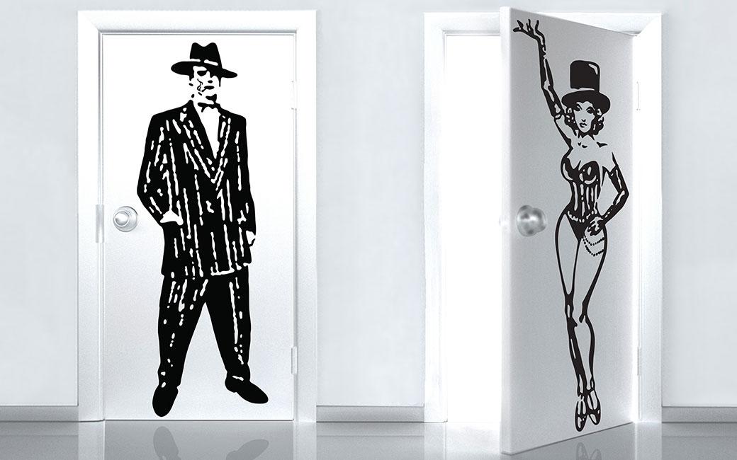 Badrumsskylt för män och kvinnor - gangster och cabaré - Salong Betong och Monroe Design