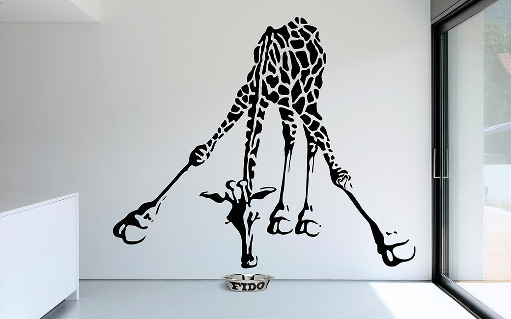 drinking giraffe wall decal • monroe design shop
