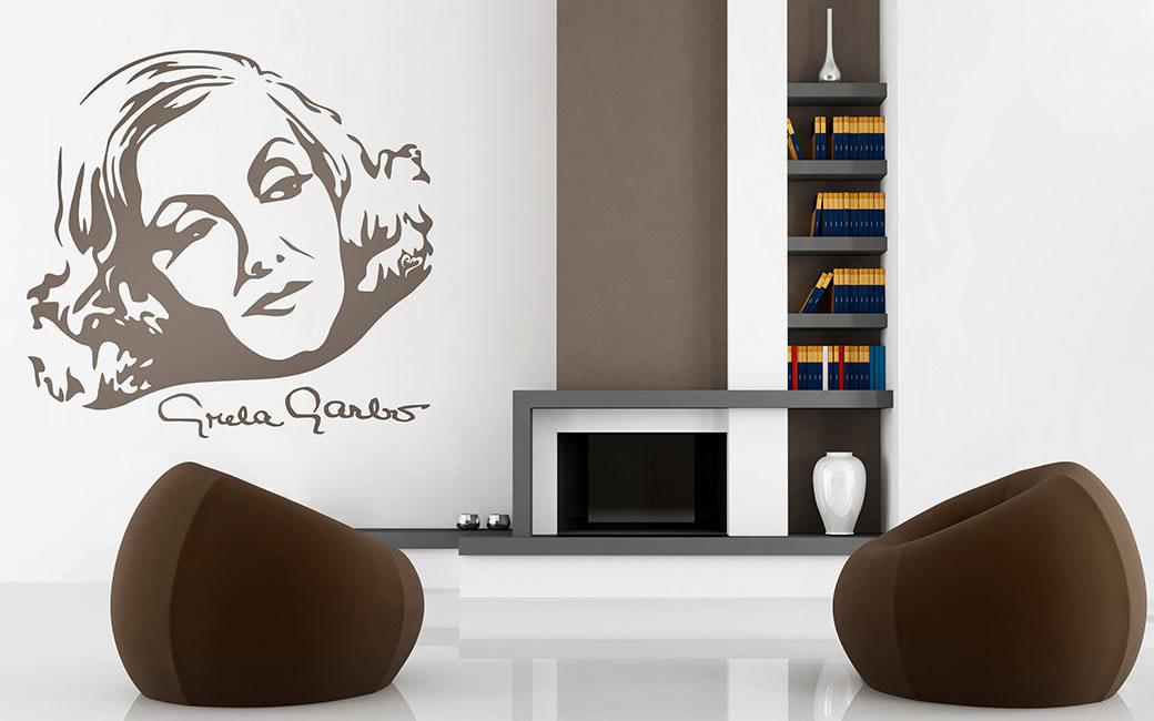 Filmstjärnan Greta Garbo porträtt väggdekor i inredning - MONROE DESIGN