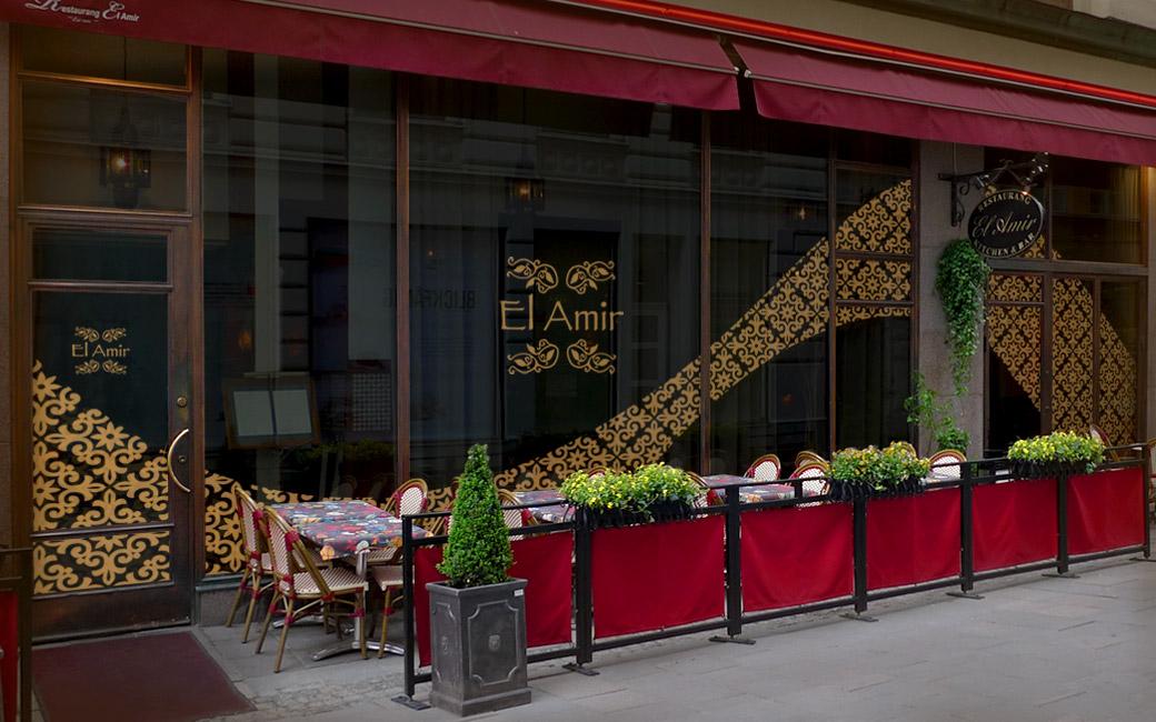 Skyltfönxsterdekal på restaurang i Stockholm - El Amir - MONROE DESIGN AB