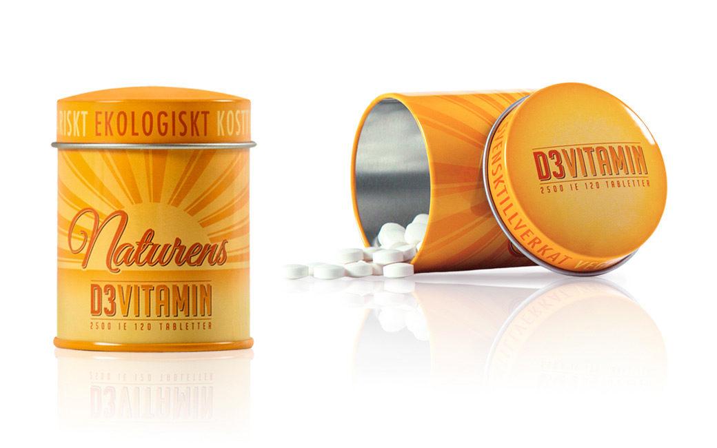Förpackningsdesign burk i Stockholm - Naturens D3 Vitamin - MONROE DESIGN AB