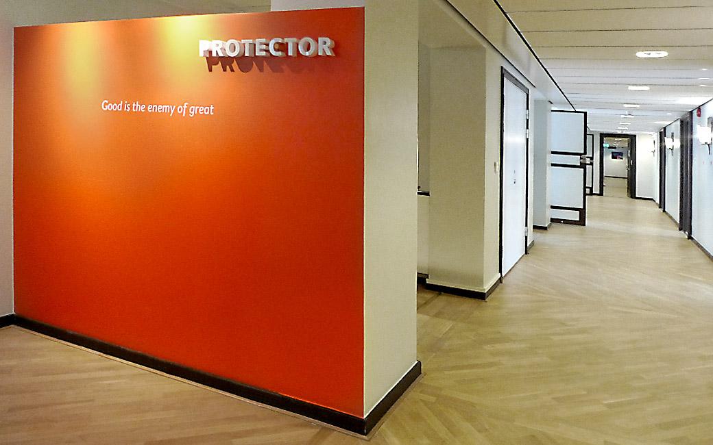 3D logo skylt i Stockholm - Protector - MONROE DESIGN AB