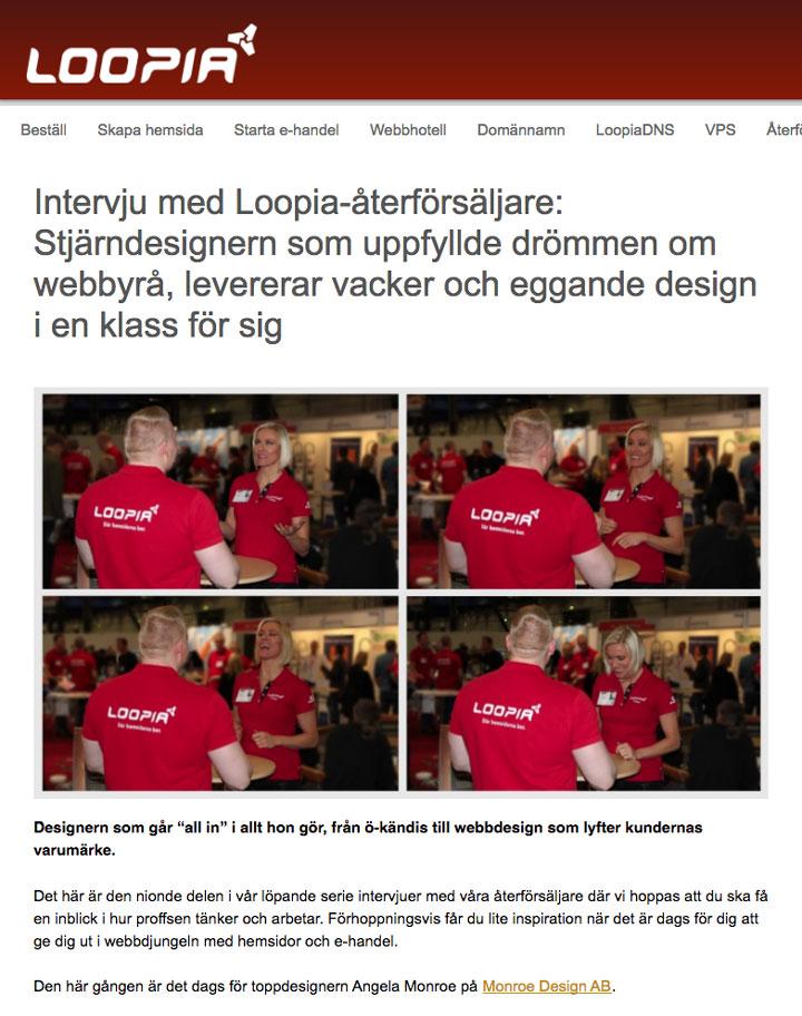 Webbhotell Loopia intervjuar webbdesigner Angela Monroe från Monroe Design AB i Stockholm