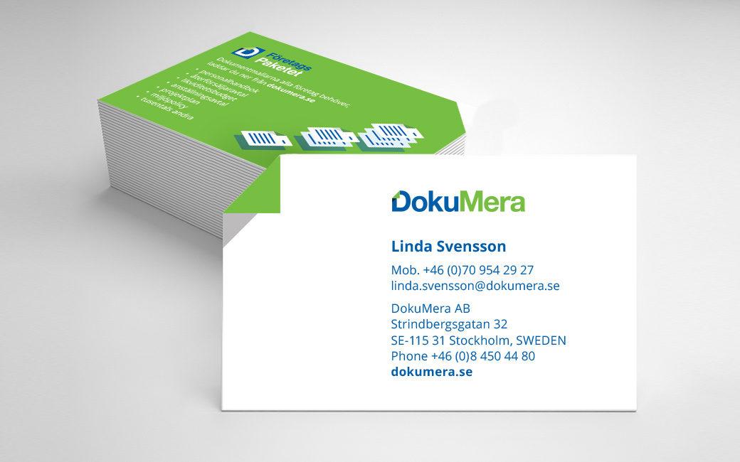 Custom cut business cards for DokuMera in Stockholm • MONROE DESIGN