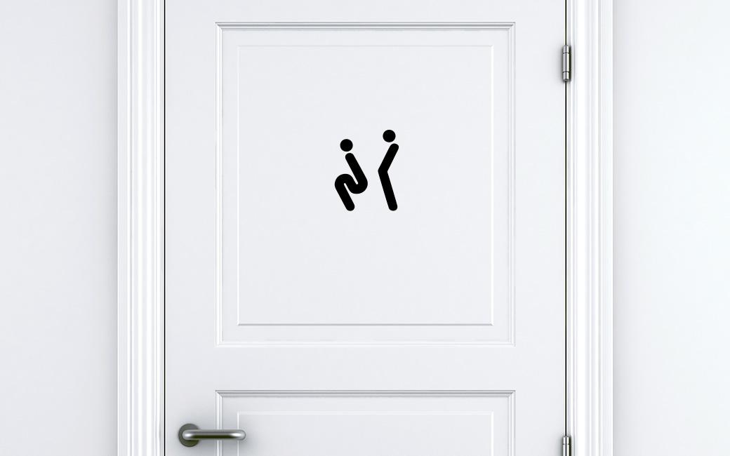 Rolig toalettskylt på man och kvinna - självhäftande klistermärke - MONROE DESIGN